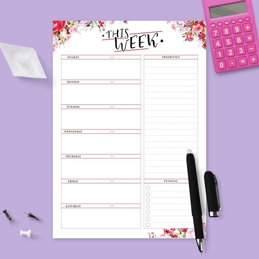 Weekly Planner Templates - Download Week Planner Pdf inside Two Week Planner Pdf