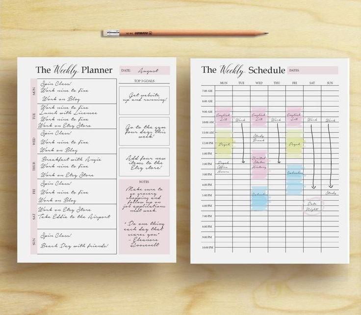 Weekly Planner, Weekly Organizer, Weekly Plan, Weekly pertaining to Two Week Planner Pdf Image