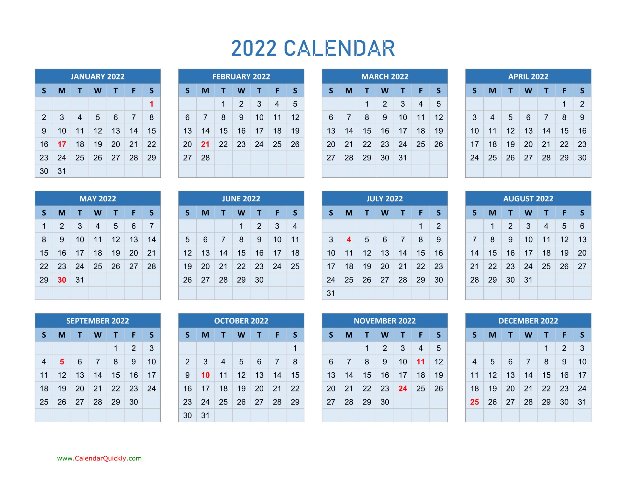 Year 2022 Calendars | Calendar Quickly inside Full Page January 2022 Calendar