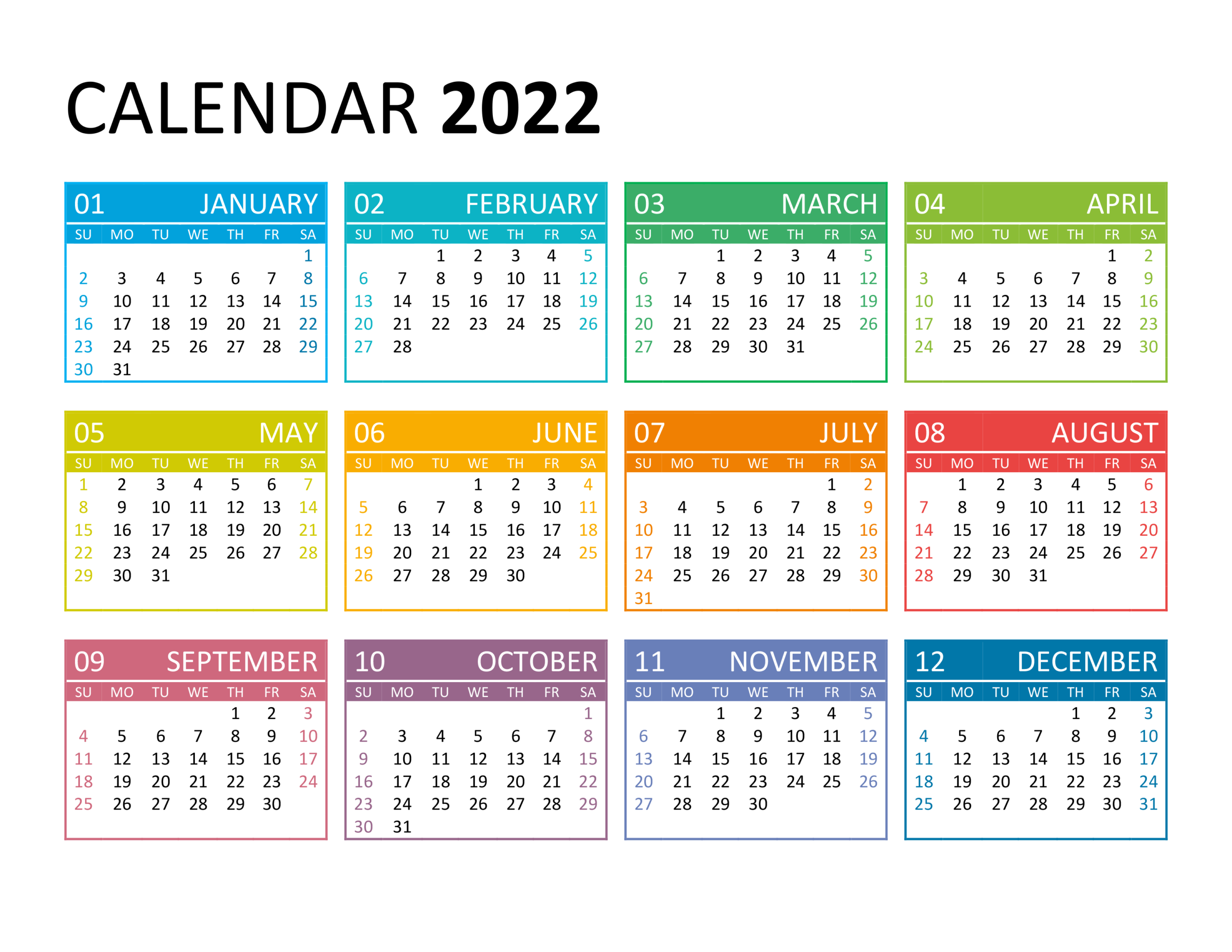 Yearly Calendar 2022 - Free-Calendar.su throughout 2022 2022 Monthly Planner Free Printable