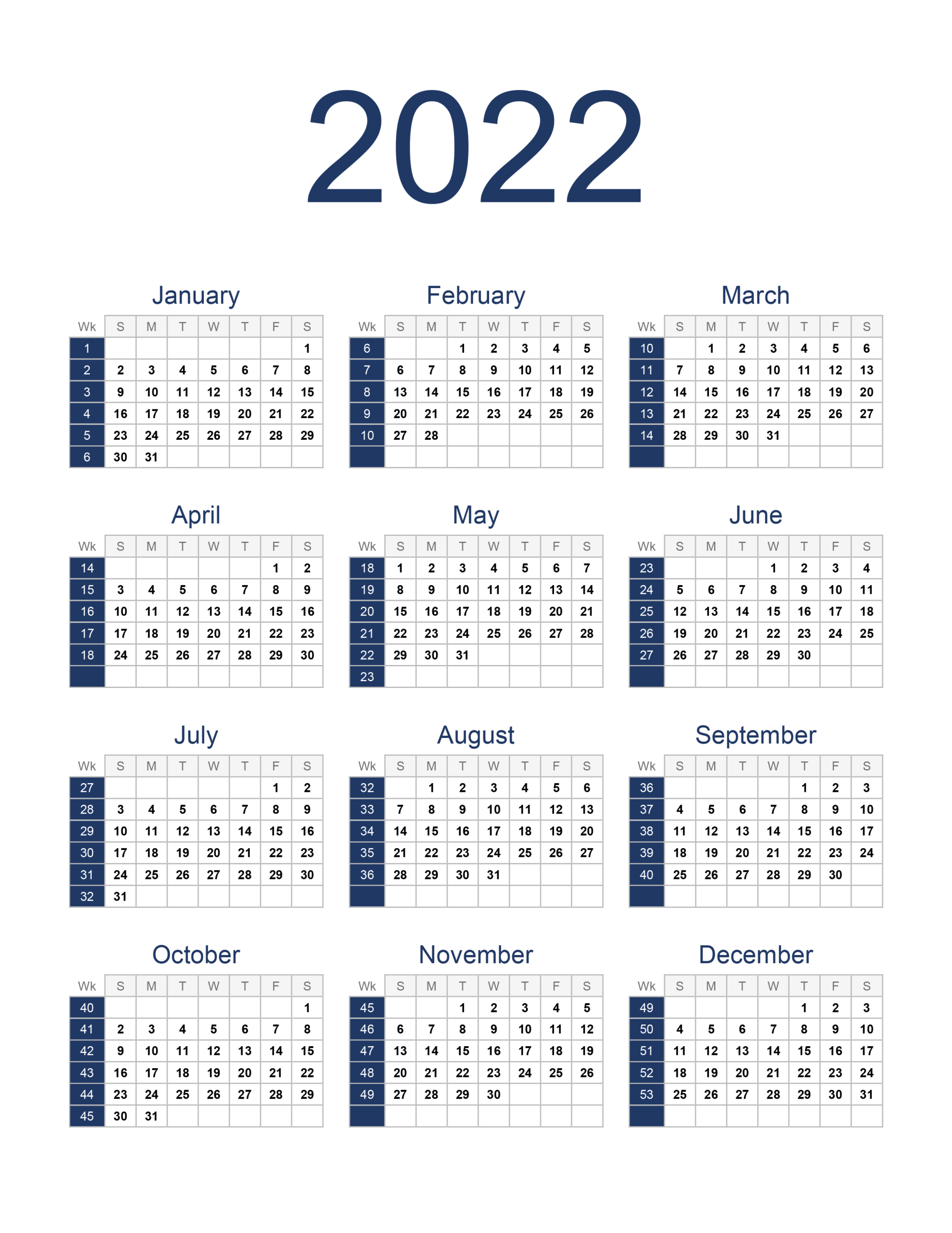 Yearly Calendar 2022 - Free-Calendar.su throughout Yearly Planner 2022 Printable Free